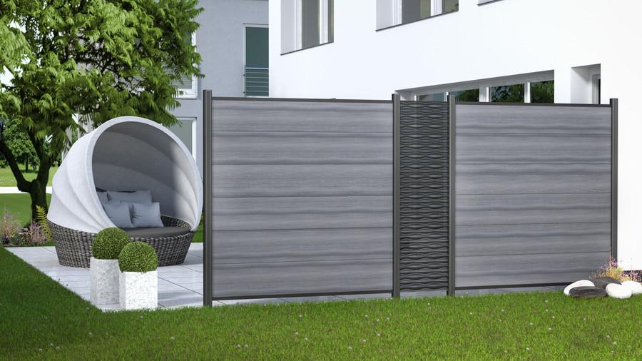 SYSTEM FLOW Anthrazit kombiniert mit der SYSTEM Serie WPC PLATINUM XL in Grau