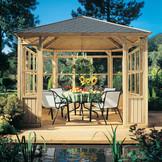 LINDGREN Pavillon mit WINDOW Elementen und Holzdach
