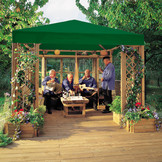 LINDGREN Pavillon mit Sonnendach, Rankgittern und Blumenkästen