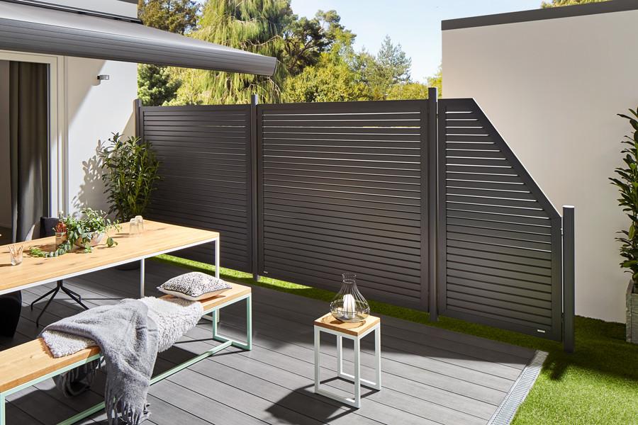Terrassen-Sichtschutz DESIGN RHOMBUS mit Metallpfosten