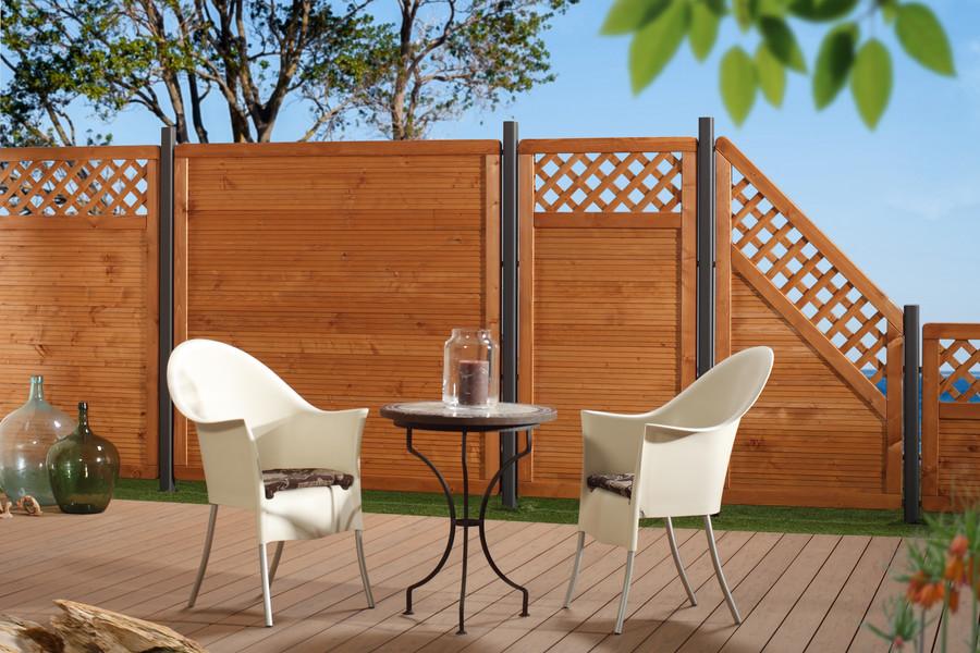 ARZAGO - farbig lasierter Sichtschutz in grau und braun erhältlich