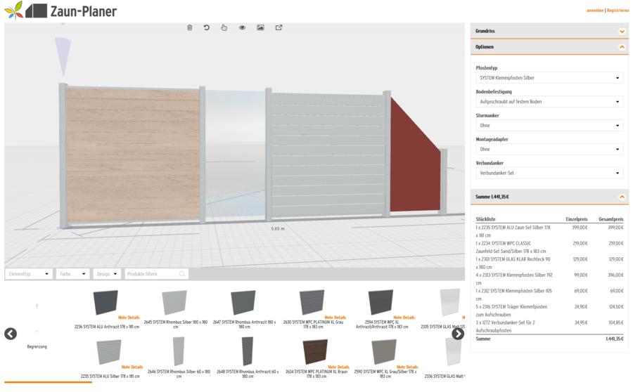 3D-Zaunplaner Konfigurationsseite