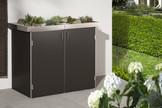 BINTO Müllbox HPL Schiefer mit Edelstahl-Pflanzschalen