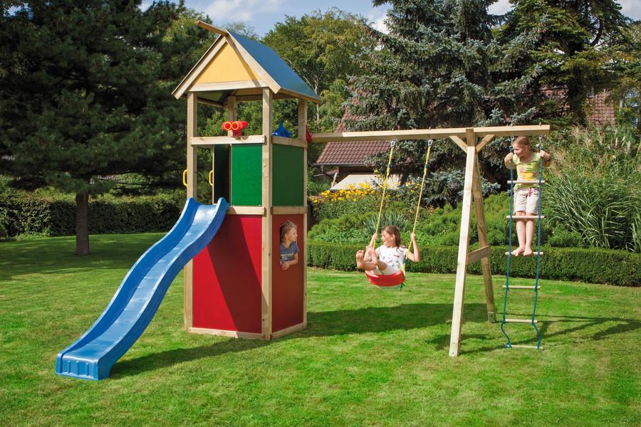 WINNETOO Spielturm mit Schaukelanbau, farbigen, pflegeleichten Wandelementen und dem dazu passendem Dach